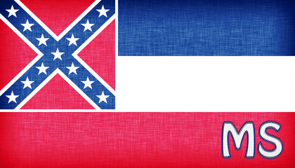 Linen flag of the US state of Mississippi