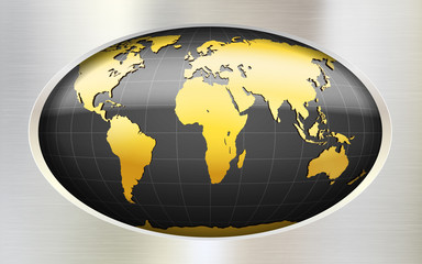 Metallic background with globe