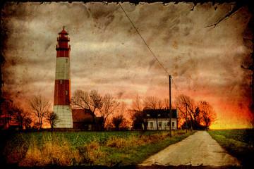 Papiers peints Affiche vintage Retroplakat - Leuchtturm am Abend