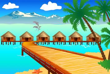 beautiful beach with cute resort