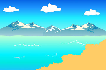 beautiful beach with big mountain background
