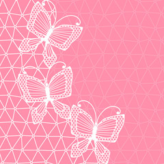Lace background with butterflies.