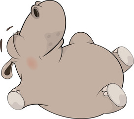 Little to hippopotamus blindly lays on a back