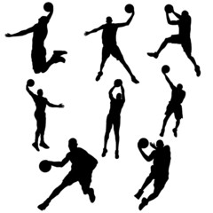 set basketball player in action with ball