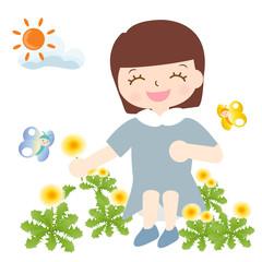 春夏 たんぽぽ お花摘み 子供 蝶