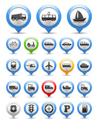 Map Markers with Transport Icons