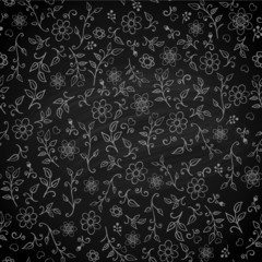 Floral seamless pattern on black chalkboard, vector