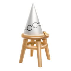Stool and dunce cap