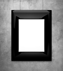 black picture frame on a concrete wall