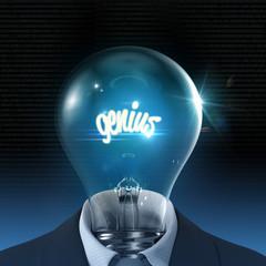 Genius, light bulb 3D concept