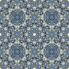 Arabesque seamless pattern in blue and white