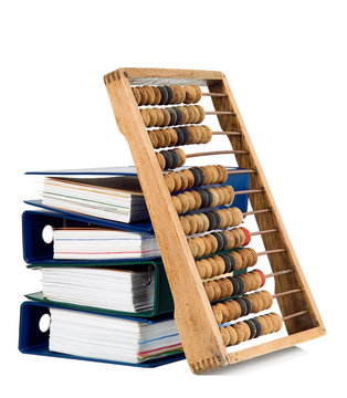 Mathematical calculator abacus with papers