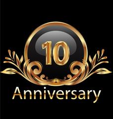 10 years anniversary birthday in gold