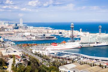 Port Vell of Barcelona from Montjuic
