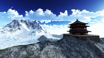 Fotobehang Bedehuis Sun temple - Buddhist shrine in the Himalayas