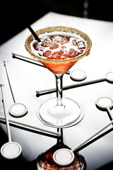 Cocktail on glass table