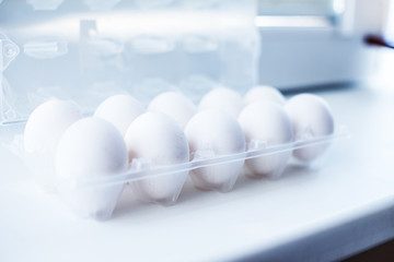 White eggs in a package
