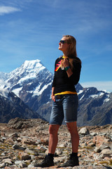 New Zealand - Hiker on Mt Cook NP