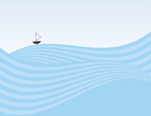Abstract waves background with small sailboat