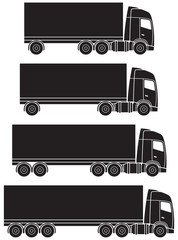 Truck or lorry transport silhouettes