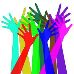 gruppo di mani che si levano verso l'alto