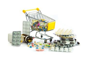shopping cart full of pills isolated on white. Shopping cart wit