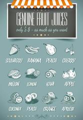 Fond de hotte en verre imprimé Affiche vintage Retro style template for genuine fruit juices menu