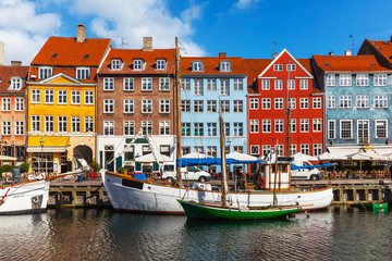 Foto op Canvas Scandinavië Color buildings of Nyhavn in Copehnagen, Denmark