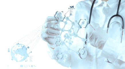 scientist doctor hand touch virtual molecular structure in the l