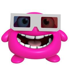 3d cartoon cute pink monster