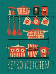 Fototapete - Retro Kitchen Poster