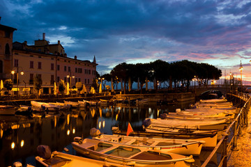 Desenzano Del Garda marina in the early morning. Wall mural