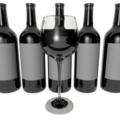 Copa de vino y botellas