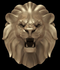 Artistic bronze sculpture of a lion's head. 3D rendered image