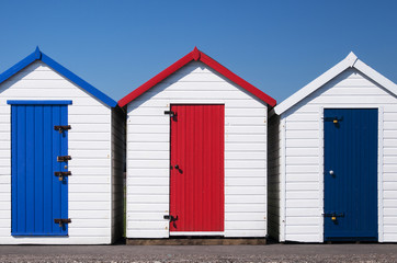 Colorful Beach Huts, Paignton, UK.