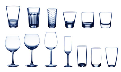 collection of blue cup glasses isolated on a white background