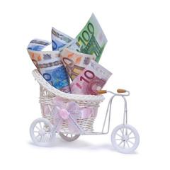 Geschenk, Hochzeitgeschenk mit Euroscheinen