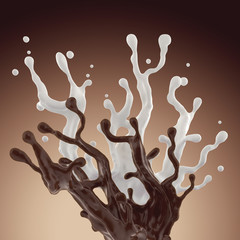 Wall Mural - mix of liquid chocolate and milk splash