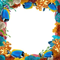 Printed roller blinds Submarine The coral reef - frame - border - illustration for the children