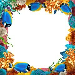 Poster Submarine The coral reef - frame - border - illustration for the children