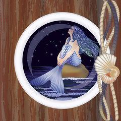 Photo sur Plexiglas Mermaid Beautiful night mermaid in porthole