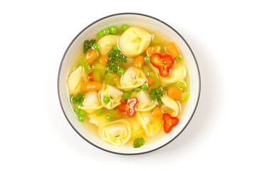 Delicious and Hearty Vegetable Soup with Tortellini