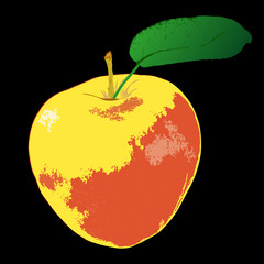 Apple on a black background.Vector