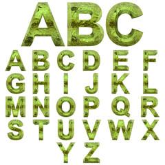 High resolution green fresh water font set