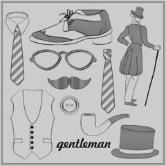 Gentleman's style vintage elements set