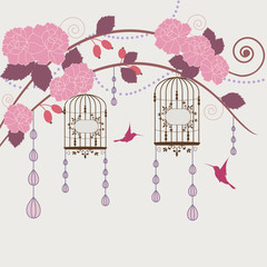 Printed roller blinds Birds in cages Garden in blossom