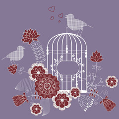 Deurstickers Vogels in kooien Loving bird - vector floral background