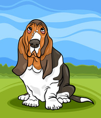 Garden Poster Dogs basset hound dog cartoon illustration