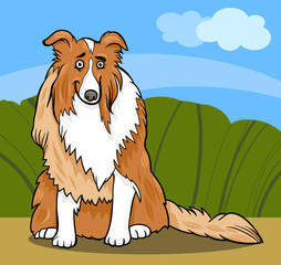 Fototapeten Hunde collie purebred dog cartoon illustration