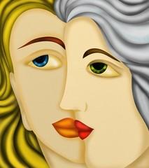 Poster de jardin Abstrait antique due visi di donne